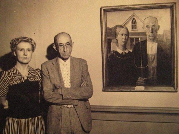 """Люди, с которых Грант Вуд писал картину """"Американская готика"""""""