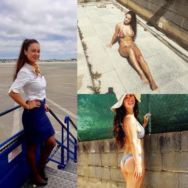 стюардесса на пляже