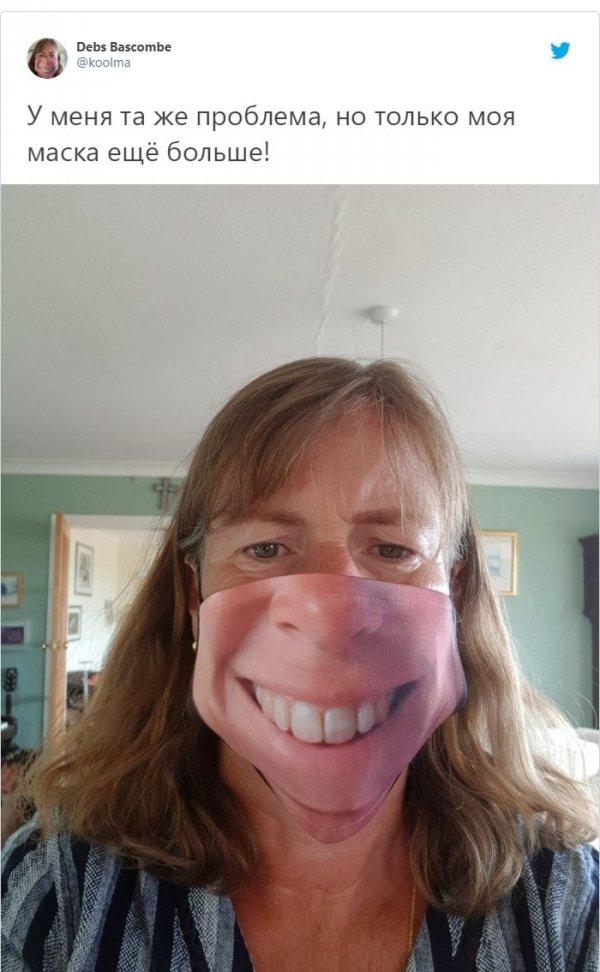 Женщина в маске с принтом лица