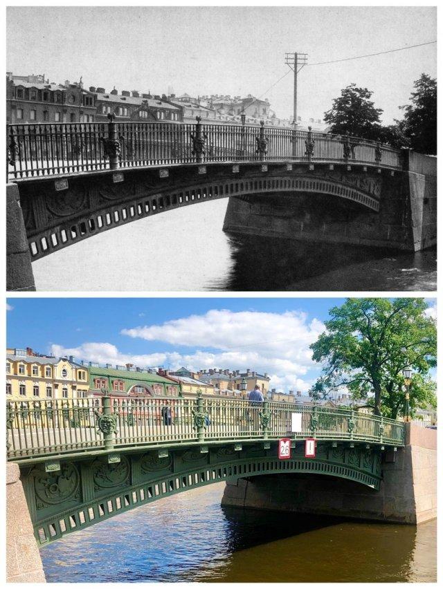 Первый Инженерный мост.~1912 и 2020 год.