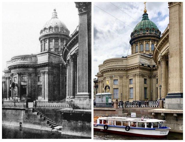 Казанский собор.~1905 и 2020 год.