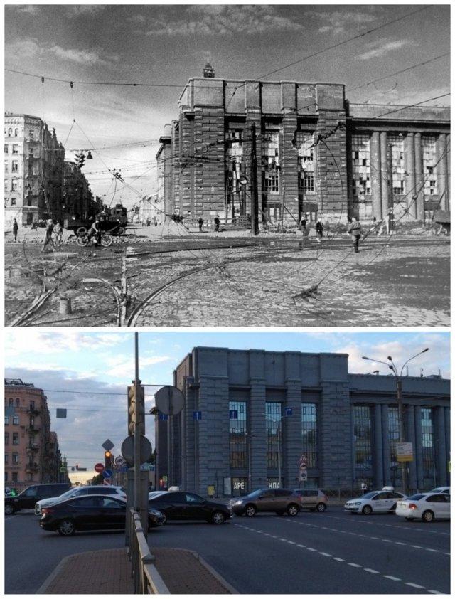 Международный проспект/Московский проспект1942 и 2020 год.