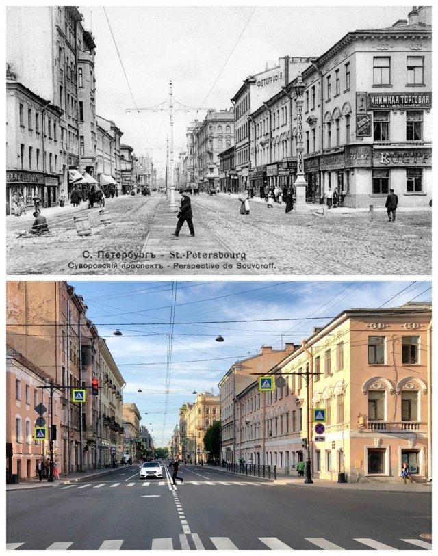 Суворовский проспект.1907 и 2020 год.