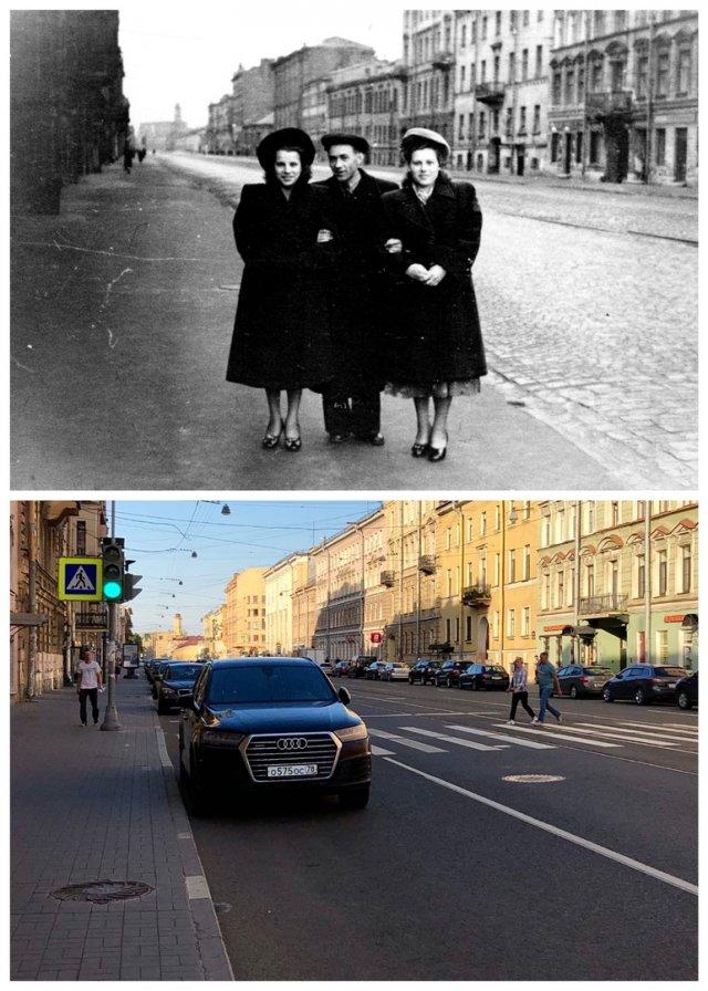 Перспектива Садовой улицы от площади Тургенева.1952 и 2020 год.