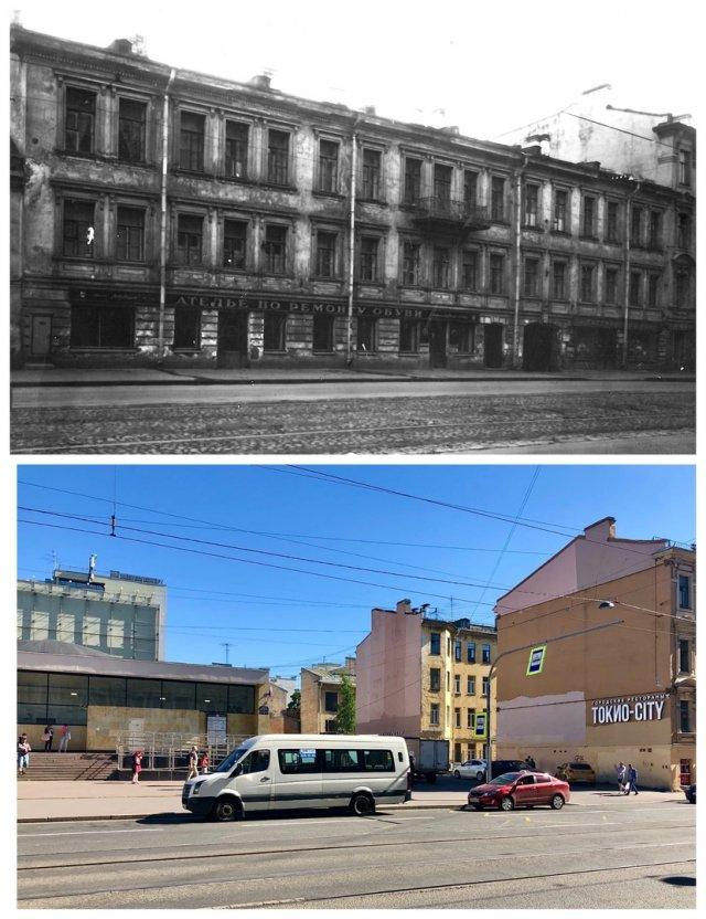 Дом на Большом проспекте В.О. / вестибюль станции метро «Василеостровская».1962 и 2020 год.