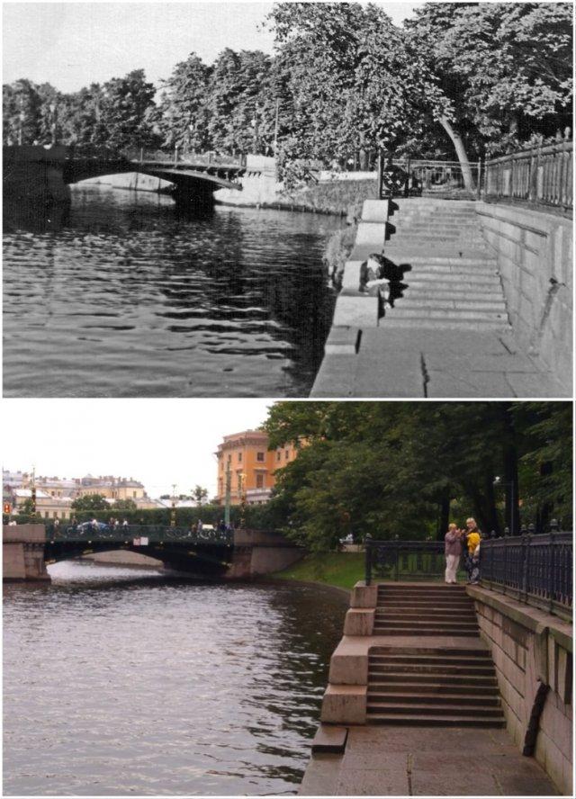 Михайловский Сад,пристань у Павильона Росси1955 и 2020