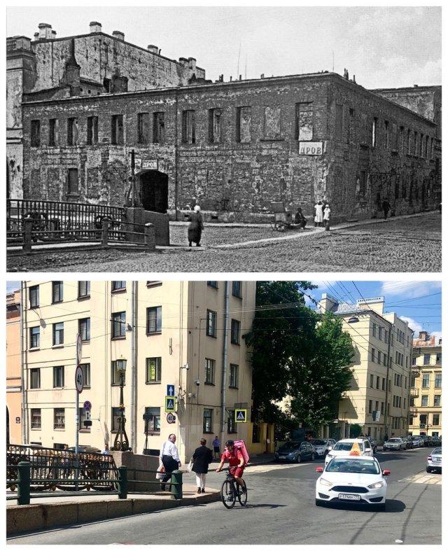 Набережная Мойки, 19 (перед сносом и началом строительства Дома жилищной кооперации Союза печатников).1929 и 2020 год.