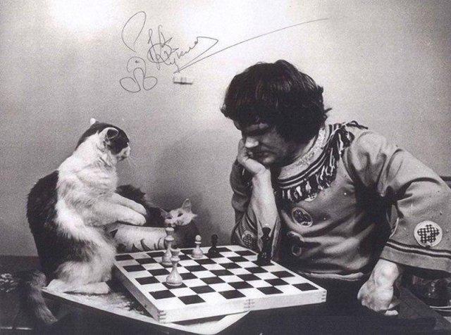 Дрессировщик Юрий Куклaчев проигрывает своему коту в шаxматы, 1980-е годы.