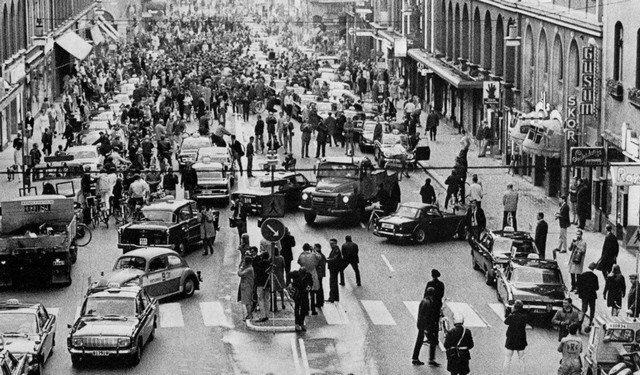 Переход Швеции с левостороннего на правостороннее движение, 1967 год
