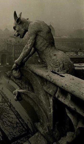 Горгулья Нотр-Дама, смотрящая на Париж, Франция, 1920 года.
