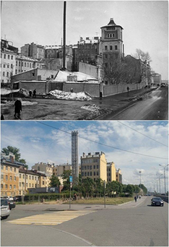 Набережная Обводного канала1970 и 2020 год.