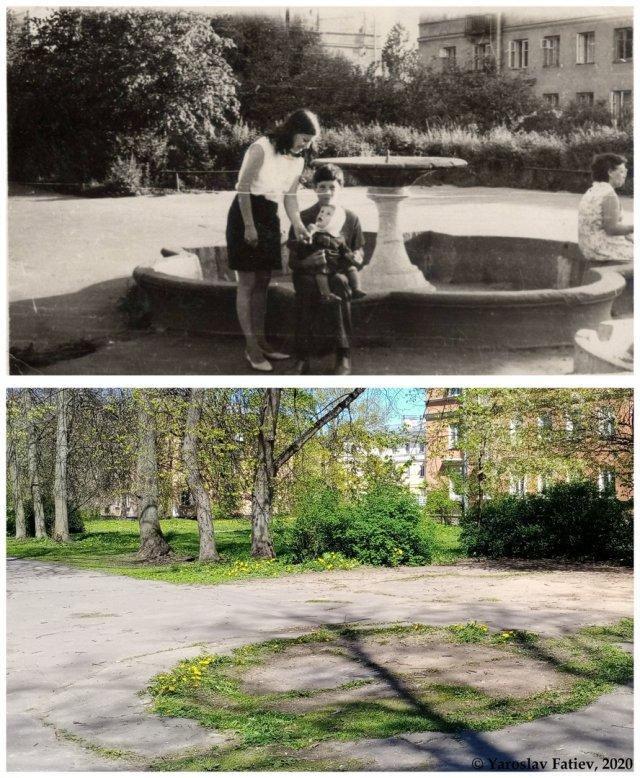 Во дворе на 2-й Комсомольской ул.1960-е и 2020 гг.