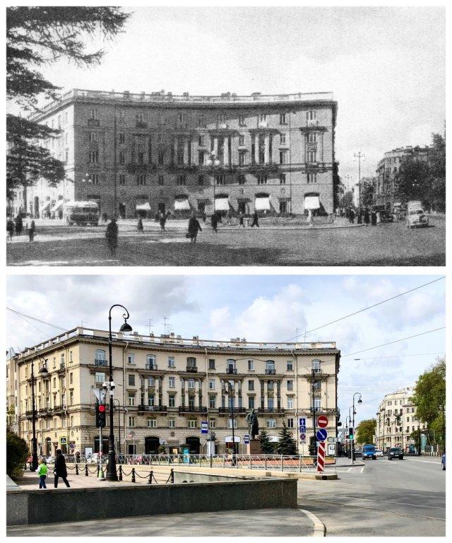 Только что построенный жилой дом на Кировском (Каменноостровском) проспекте.1954 и 2020 год.
