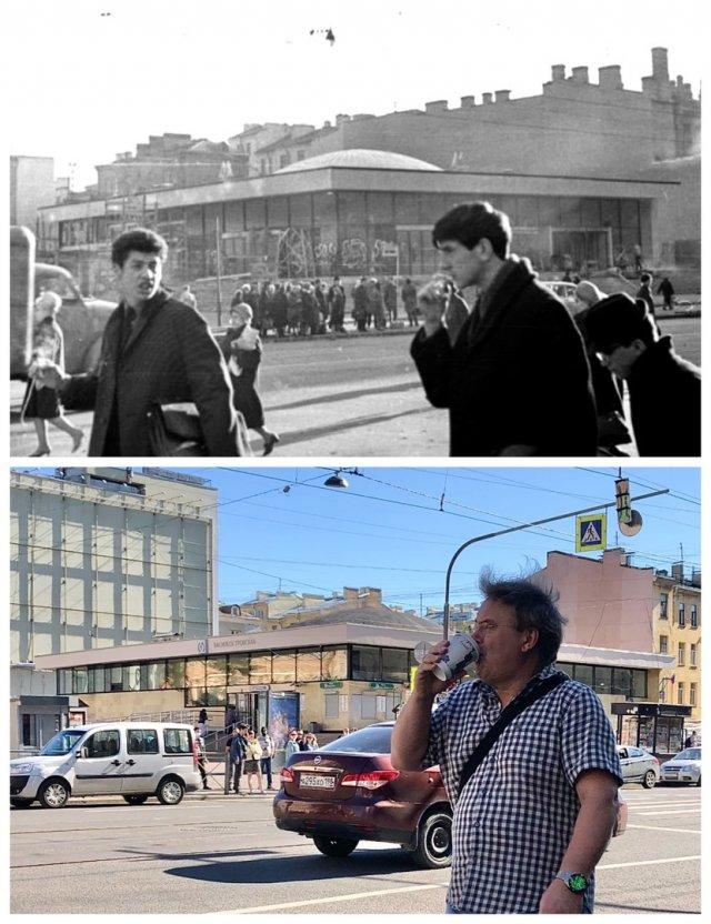 Около станции метро «Василеостровская».1967 и 2020 год.