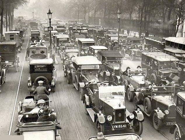 Лондон, пробки, 1920-е.