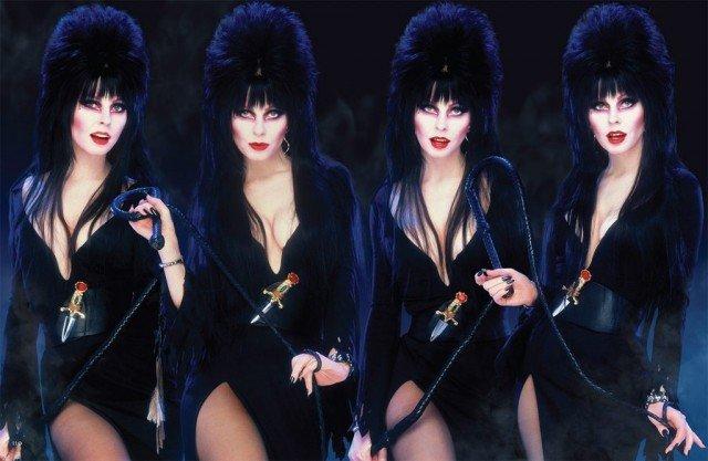 Кассандра Петерсон (Эльвира - повелительница тьмы) в черном платье