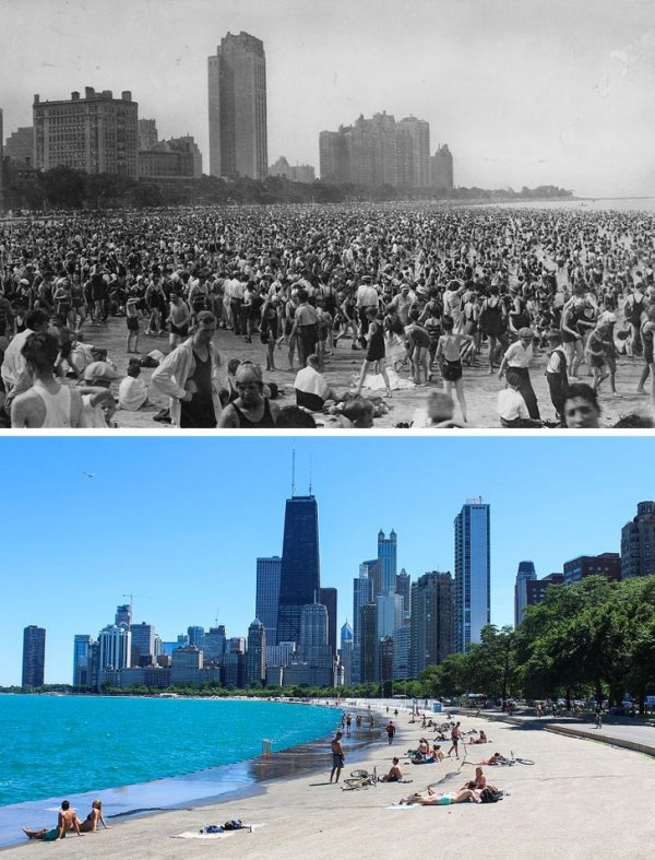 Оук-стрит-Бич, Чикаго, США, в 1925 году и сейчас