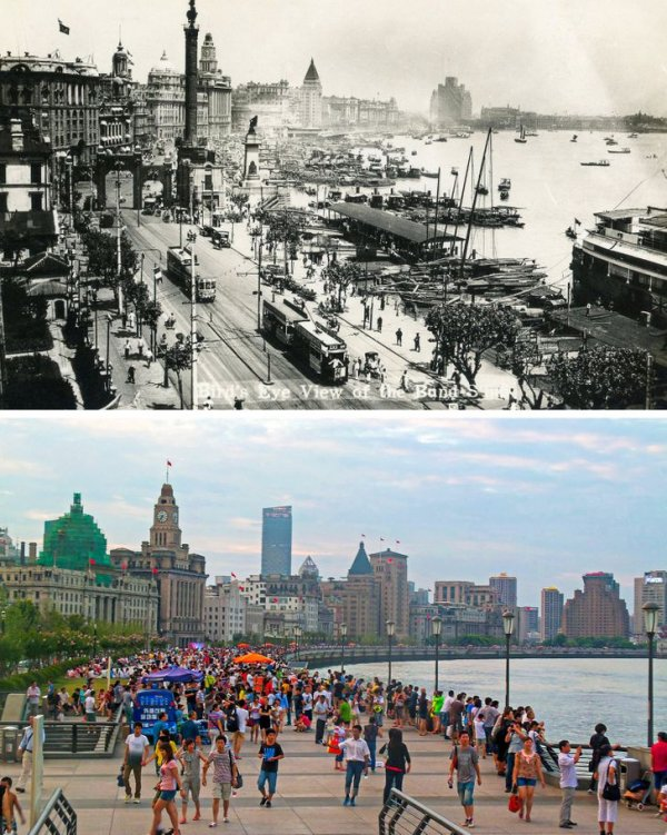 Шанхай, Китай, в 1920-х годах и сейчас