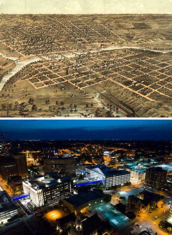 Де-Мойн, штат Айова, в 1868 году и сейчас