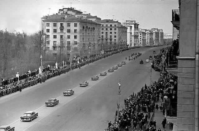 Москва. Ленинский проспект. Встреча Гагарина. 1961 год.