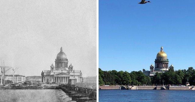 Вид на Исаакиевский собор с Набережной линии (Университетской набережной).1852 и 2020 год.