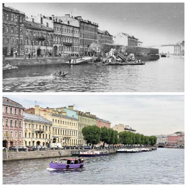 Река Фонтанка.1955 и 2020 год.