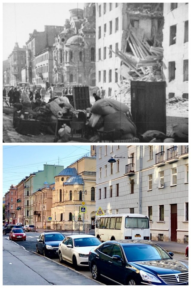 Дегтярная улица.1942 и 2020 год.