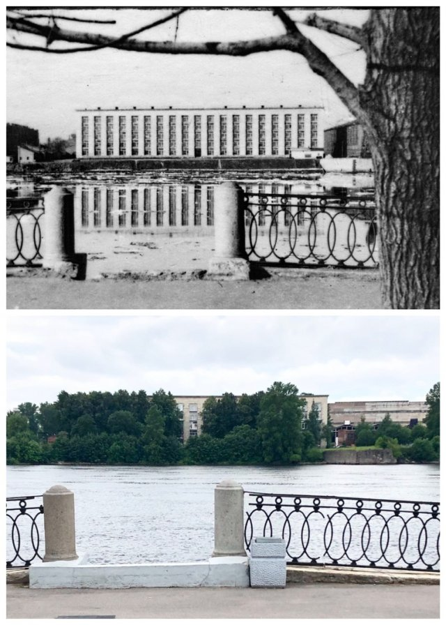 Вид с Октябрьской набережной на Невский машиностроительный завод.1973 и 2020 год.