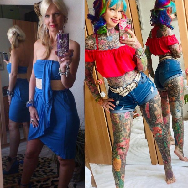 Керстин Тристан до и после татуировок