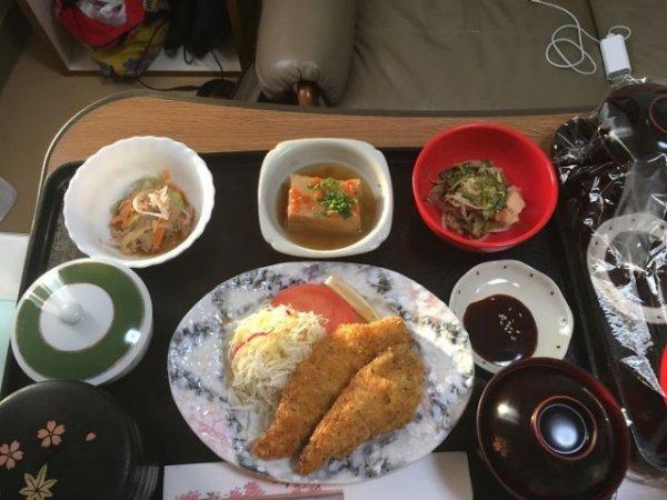 Куриное филе с шинкованной капустой, салат из обжаренной китайской горькой тыквы, агедаши тофу, морковный салат, рис, суп мисо.