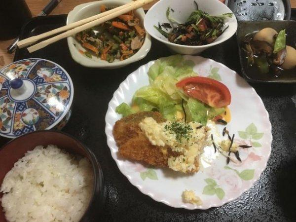 Жареная рыба с соусом тартар, тушеный картофель, салат из хидзики, обжаренный шпинат и морковь, рис, зеленый чай.