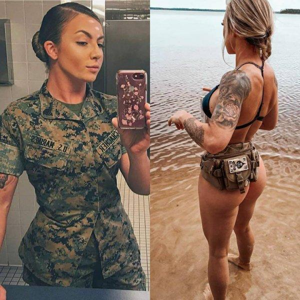 девушка солдат с татуировками