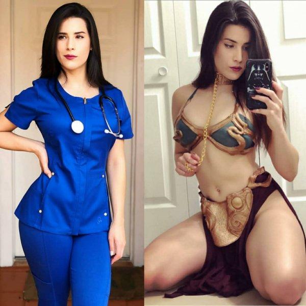 девушка в синей форме медсестры
