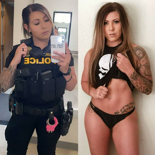 девушка полицейский в черном белье