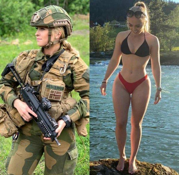 девушка солдат в купальнике