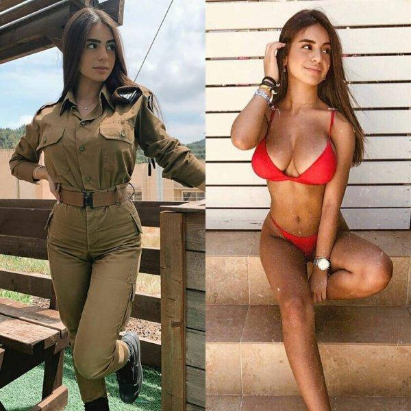 девушка военная в красном купальнике