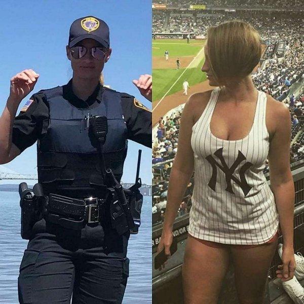 девушка полицейский на стадионе
