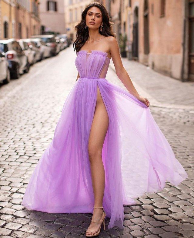 Платья с высокими разрезами. Часть 9