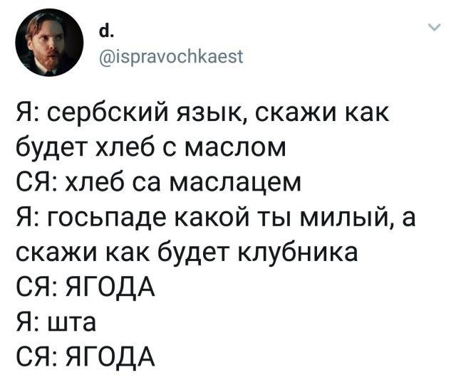 твит про сербский язык