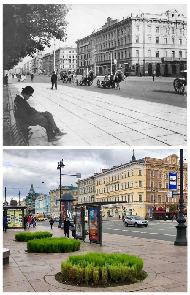 Невский проспект у Гостиного Двора.1914 и 2020 год.