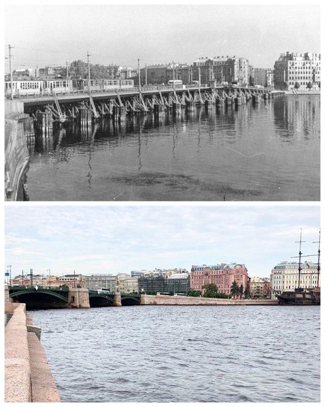 Мост Строителей / Биржевой мост.~1950 и 2020 год.