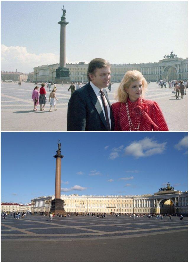 Дворцовая площадьДональд Трамп и его супруга Ивана1987 и 2020 год