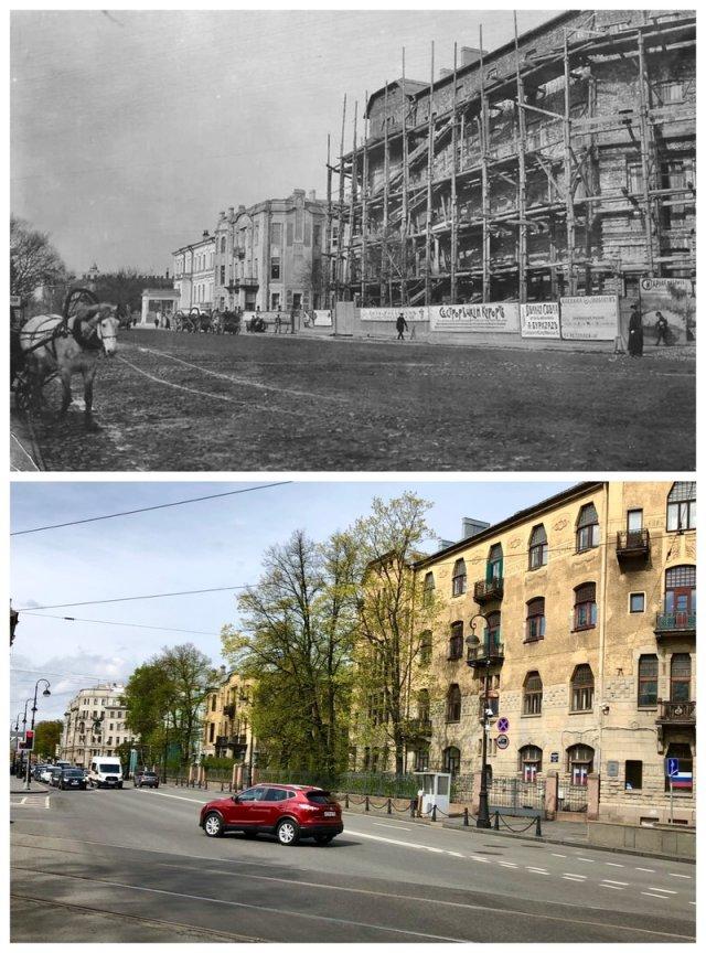 Доходный дом Лидваль на Каменноостровском проспекте в процессе строительства.1904 и 2020 год.