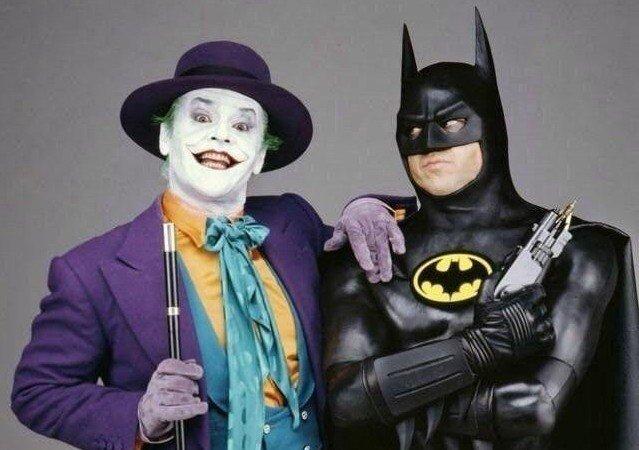 Джокер и Бэтмен. Джек Николсон и Майкл Китон, 1988 год.