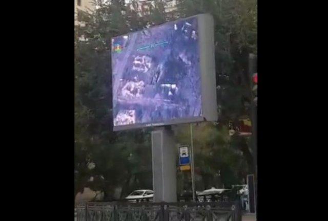 В Баку показывают кадры ударов по армянской стороне прямо на улицах