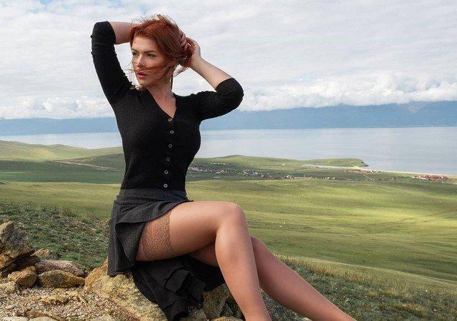 Ирина Мейер (Irina Meier) в теплом платье