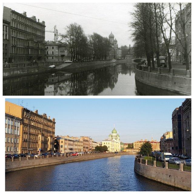 Канал Грибоедова (с Аларчина моста)1989 и 2020