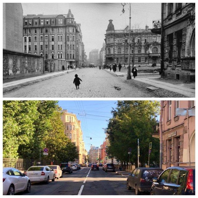 Малый проспект П.С.~1933 и 2020 год.
