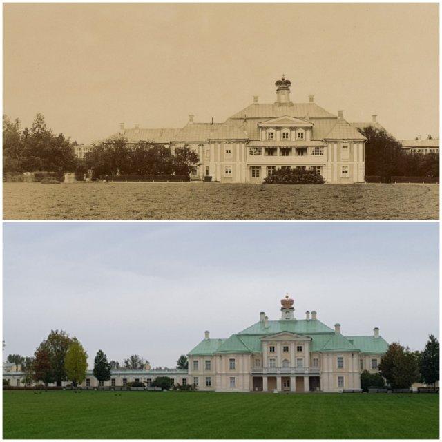 """Парк """"Ораниенбаум"""", Большой Меншиковский дворец (вид с южного двора)1892 и 2020"""