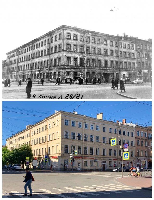 Угол 4 линии и Среднего пр. В.О.~1960 и 2020 год.